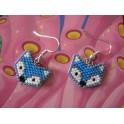 Boucles d'oreilles tête de renard bleu, gris- Perles Miyuki