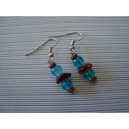 Boucles d'oreilles marron et turquoise