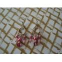 Boucles d'oreille chandelier rose