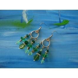 Boucles d'oreilles chandelier vert