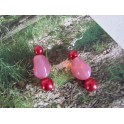 Boucles d'oreilles rose et rouge