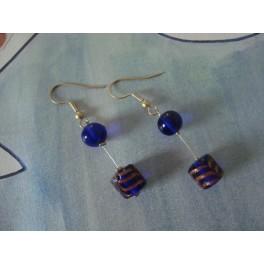 Boucles d'oreilles bleu et cuivré