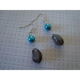 Boucles d'oreilles turquoise - gris
