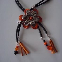 Collier Fleur Cuir Orange
