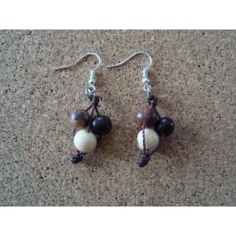 Boucles d'oreille Açaïs naturel et marron