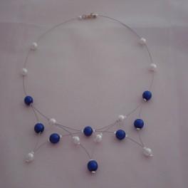 Collier de mariage en perles blanches et bleu marine pas cher en ligne - Materiel creation bijoux pas cher ...