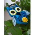 Collier pendentif hibou bleu et jaune
