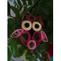 Collier pendentif hibou rose