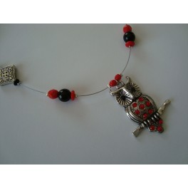 Collier hibou strass rouge