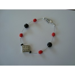 Bracelet noir et rouge