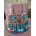 Boucles d'oreilles chandelier bleu