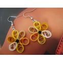 Boucles d'oreilles quilling fleur jaune