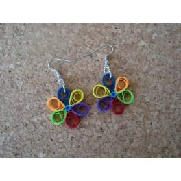Boucles d'oreilles quilling fleur multicolore