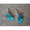 Boucles d'oreilles quilling rond bleu vert