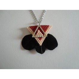 Collier perles + plumes