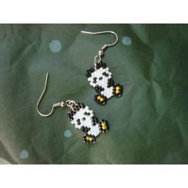 Boucles d'oreilles panda jaune - Miyuki