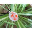 Collier pendentif béton ovale orange