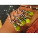 Boucles d'oreilles chandeliers vert et argenté