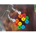Boucles d'oreilles quilling rond multicolor